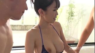 Busty oriental boobjon on baths three-some