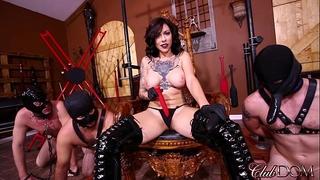 Femdom domina receives off then booty bonks her slaves