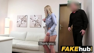 Fake agent shy golden-haired model loves her hairless cunt licked