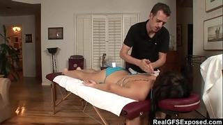 Realgfs – sexy brunette hair acquires soaked from oil massage