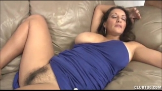 Busty milf tugjob and cunt rubbing