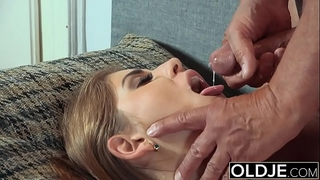 Pretty youthful horny white wife mouthful of cum and anal sex with grand-dad shlong