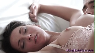 Busty beauty in nylons acquires buttfucked