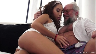 Young latin chick on much mature rod