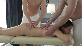 Double permeated by lewd masseurs