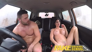 Fake driving school favourable youthful boy tempted by his breasty milf examiner