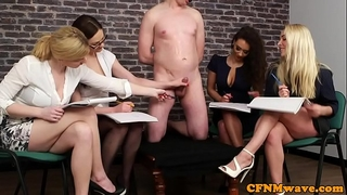 British cfnm women jerking their sub in group