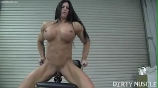 Naked female bodybuilder angela salvagno copulates a vibrator