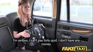 Fake taxi miniature golden-haired in pull up nylons