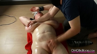 Busty serf bawdy cleft fingered by her master