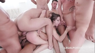 10 on 1 gang group sex for ultra floozy gabriella lati 10 swallows!