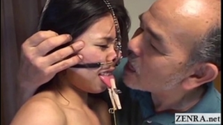 Extreme japanese s&m with nose hooks and clamps subtitled