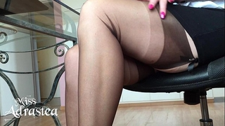 Miss adrastea nylonfeet beneath table