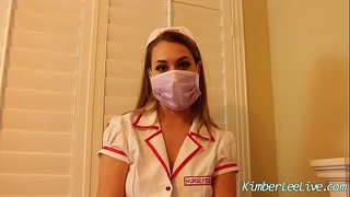 Nurse kimber lee gives cook jerking in her purple latex gloves!