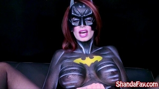 Canadian milf shanda fay is batgirl and gets off with large toy!
