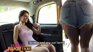 Female fake taxi lesbo fur pie eating session in cab