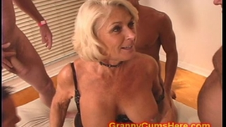 Granny receives a gang team fuck and cum bathroom