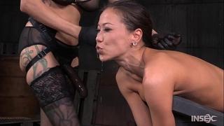 Slender oriental wench screwed hard by lezdom belt on