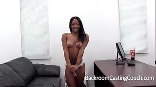 Hardbody dark slutty wife fucked into ass on casting sofa