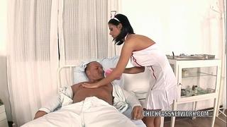 Slutty nurse dark angelika copulates in the hospital couch