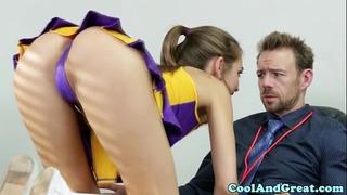 Cheerleader riley reid tastes coaches ball batter