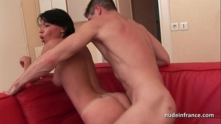 Nice titted dilettante french mommy hard sodomized with cum in throat for her casting