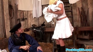 Euro chick white bitch craves farmers ramrod in butt