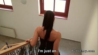 Tight czech secretary bonks pov in public