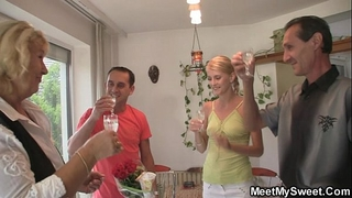 Threesome with his gf and parents