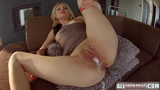 All inner 3some with double creampie for blond newbie