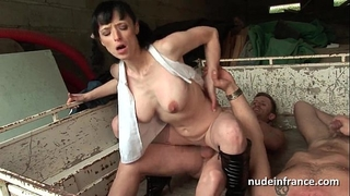 Busty dilettante older hard anal drilled in trio outdoor