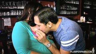 Plump bartender copulates guy waiter in nightclub