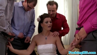 Bukkake loving euro bride sucks five schlongs