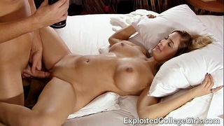 Busty coed drilled and facialed