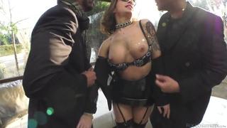 Wild hooker takes two big meaty schlongs in her ass