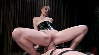 Dominant whore fucks her slaveboy with strap-on dildo