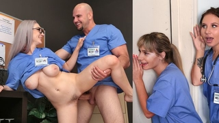 Busty nurse with glasses gets her dripping wet pussy plowed