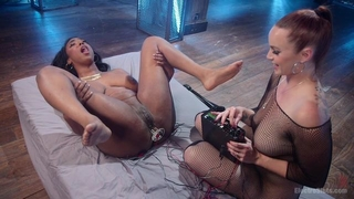 Redhead mistress dominates over her busty black slave