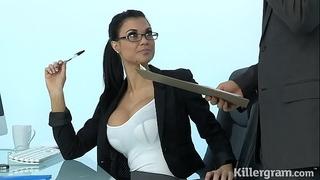 Sexy milf jasmine jae plays the office floozy addicted to hard knob
