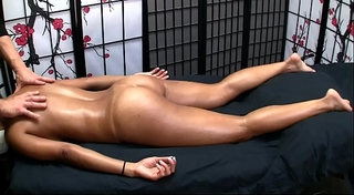 Sexy oriental receives erotic massage and pleased ending