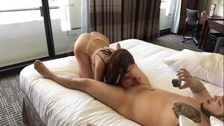 Lexi sucks bf shlong and ride bonks him in hotel creampie