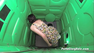 Porta gloryhole legal age teenager acquires her fill of cum
