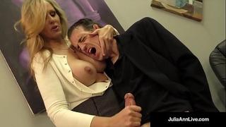 Busty golden-haired milf julia ann milks cum from rock hard schlong!