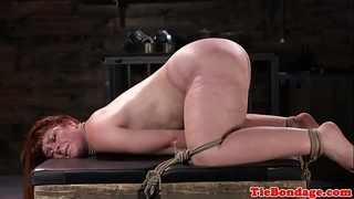 Spreadeagled slavery sub bound up and whipped