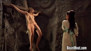 Mistress showing dong to 2 slaves
