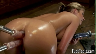 Big wazoo golden-haired anal and snatch fucking marital-device