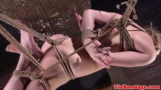 Sub gstring and hog fastened for vagina whipping