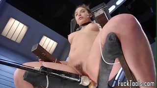 Babe restrained to chair for cum-hole toying