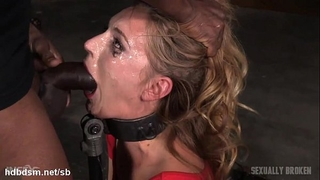 Orgasming beauty has her face messed up in saliva during the time that deepthroating
