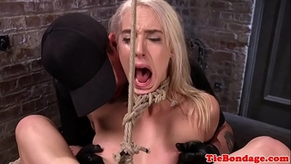 Tied up thraldom sweetheart twat hooked and toyed